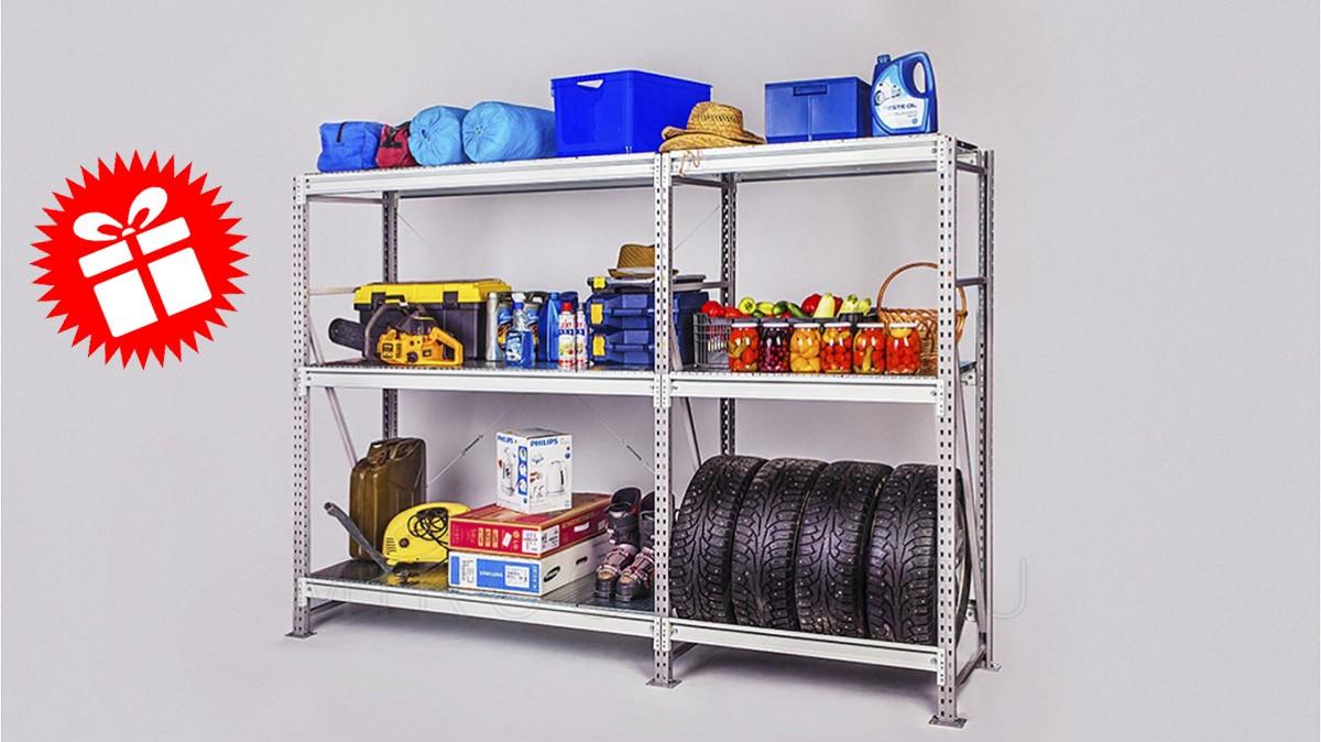 Стеллаж для гаража CФМ (500 кг на полку), 3 яруса, рама 2000 х 600 мм