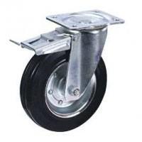 Колесные опоры промышленные усиленные поворотные с тормозом 90320001, D 200 мм.