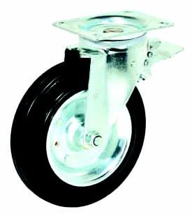 Колесные опоры усиленные поворотные для евроконтейнеров 90320003 с тормозом, D 200 мм.